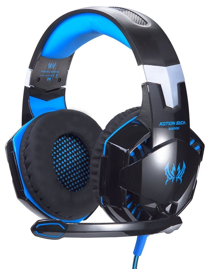 PC Gaming Headset Computer Headphone Over Ear Microphone Game Professional Blue