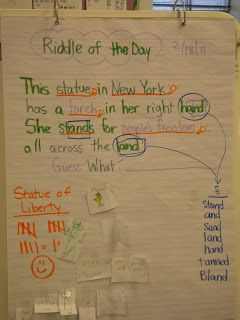 Riddles of the day to teach rhyming