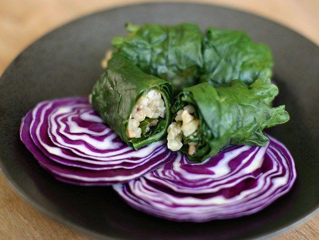 Steamed Buckwheat-Stuffed Kale Leaves