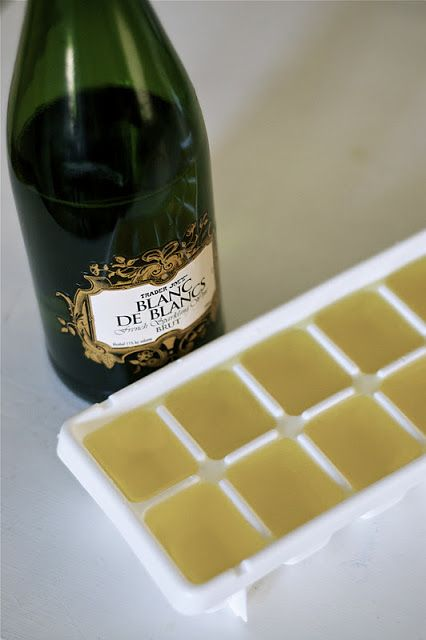 champagne ice cube shots. perfect for mimosas the morning of the wedding.