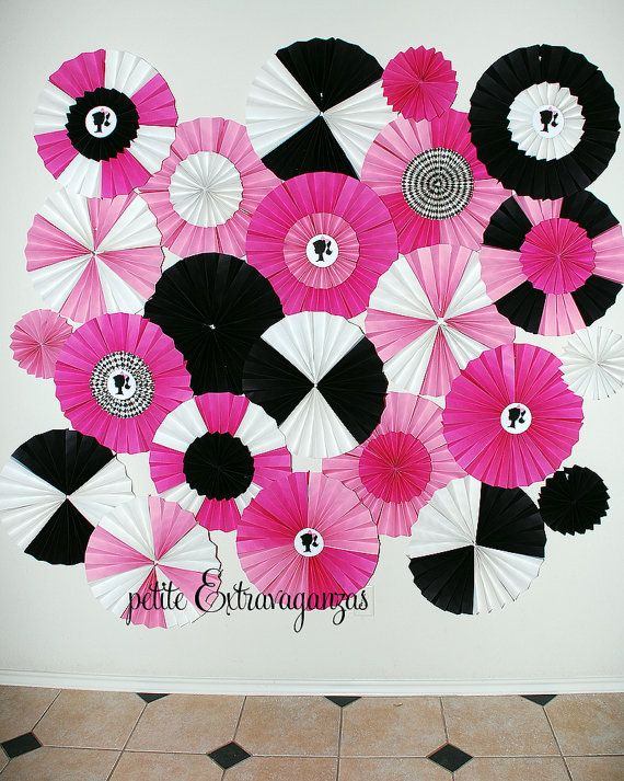 Set of 5 Party Decor Paper Rosettes/ Fans by PetiteExtravaganzas, $25.00