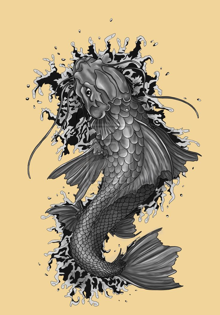 9 best new tattoo ideas images on pinterest fish tattoos for Black dragon koi