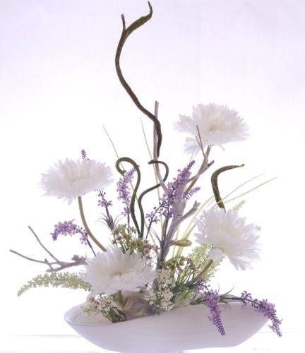 Seidenblumengesteck-Kunstblumengesteck-Arrangemen-mit-Gerbera-Seidenblumen-Deko