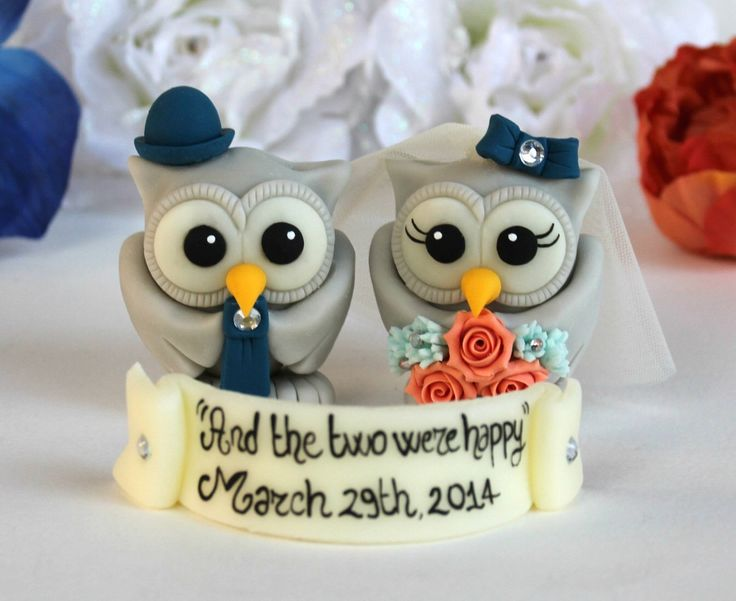Owl love bird wedding custom cake topper, coral navy blue wedding with personalized banner by PerlillaPets on Etsy https://www.etsy.com/listing/186431201/owl-love-bird-wedding-custom-cake-topper
