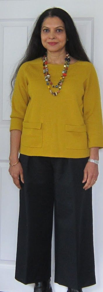 Culottes: Ann Taylor cotton knit top, Banana Republic culottes, African beads and Clark's boots - 2017