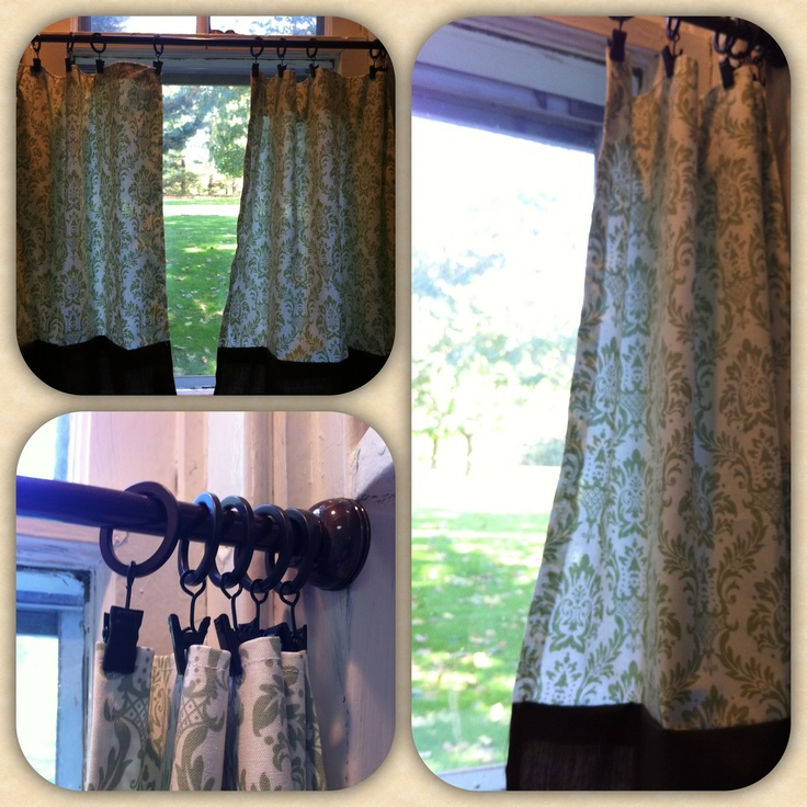 Kitchen Curtains Tension Rod: Cheap, Easy, Home Made Cafe Curtains! Used Curtain Clips