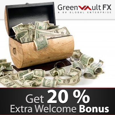 Greenvault #FX introduces the 20% withdrawable welcome bonus for the first deposit with minimum of 1 #USD. Hurry up and do not miss that great chance from Greenvault #FX! Just imagine – 20% welcome bonus… And today it's real!