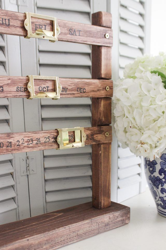 How to make a vintage-style perpetual sliding wooden calendar from wood, label holders, and stamps. You can also customize the size and finish!