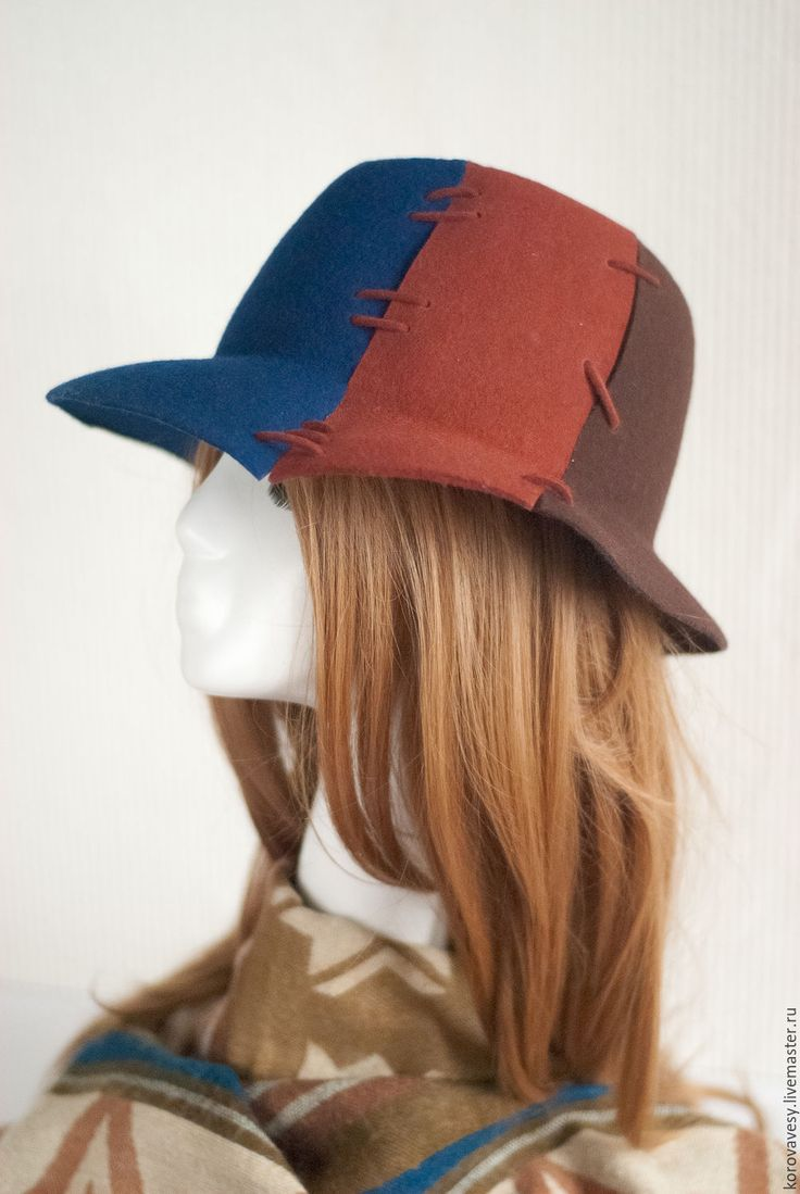 """Купить """"Отель Калифорния"""" - тёмно-синий, шляпа, федора, женская одежда, женская шляпа"""