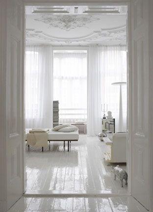 white glossy painted wood floors