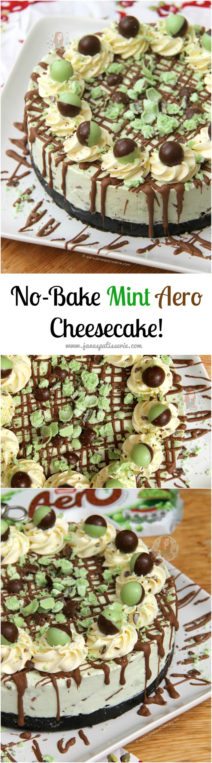 No-Bake Mint Aero Cheesecake!! ❤️ A Creamy, Sweet, and Delicious No-Bake Mint…