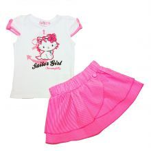 set tricou+fusta kitty-roz
