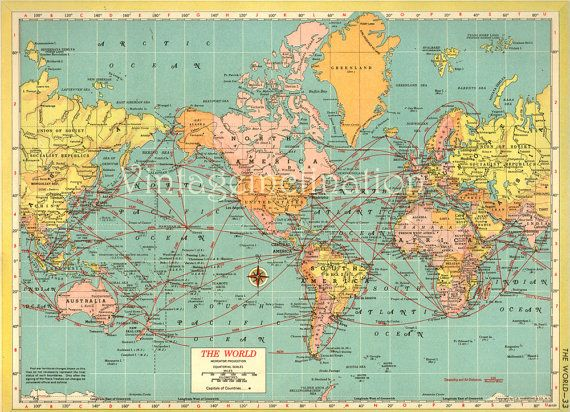 COLORS. Antique WORLD Map 1940s ORIGINAL Map of the World | DESIGN