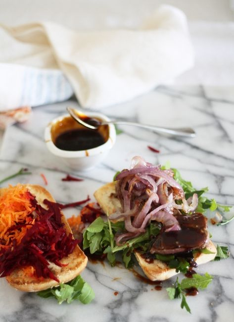 Bill Granger's Asian Inspired, Marinated Steak Sandwich with Homemade Barbecue Sauce | A Splash of Vanilla