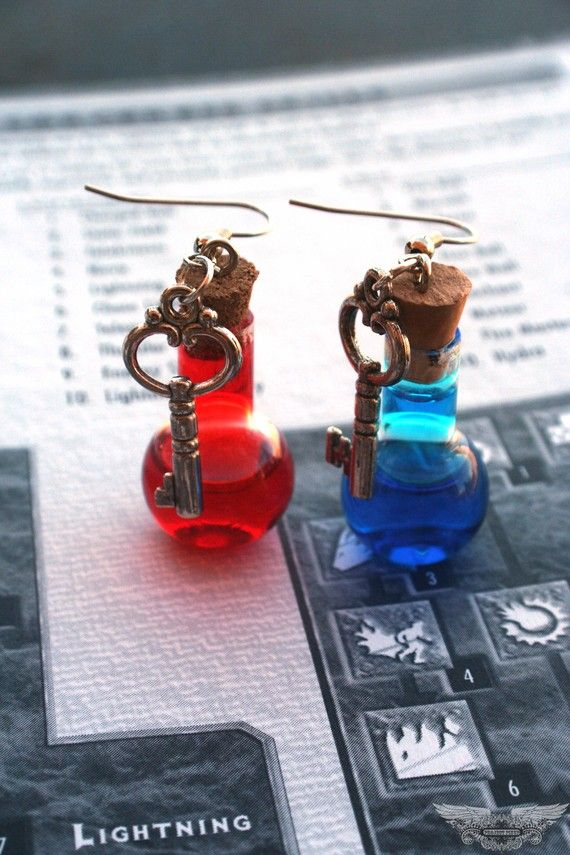 All the girl gamers, put your hands up! Mana and Health potion earrings with key charms.