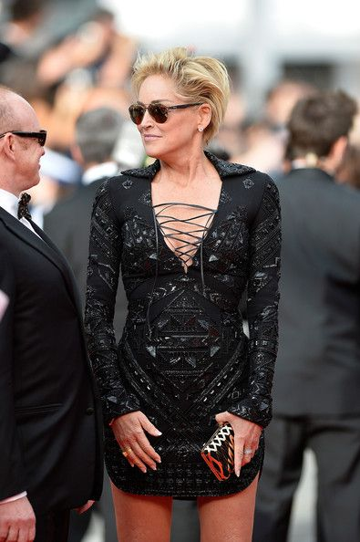 Sharon Stone Metallic Clutch - Sharon Stone Looks - StyleBistro