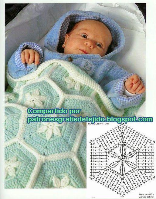 Manta de beb de lana tejida con ganchillo en celeste y - Manta de bebe a ganchillo ...