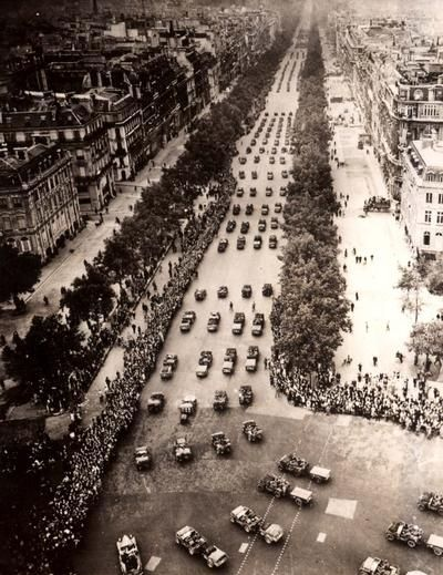 A march of the American Army in honor of the liberation of Paris. August 26, 1945.  World War Two