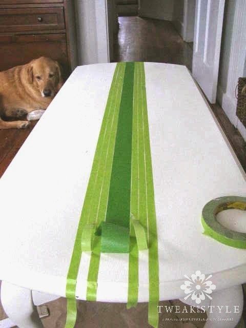 taping stripes on coffee table