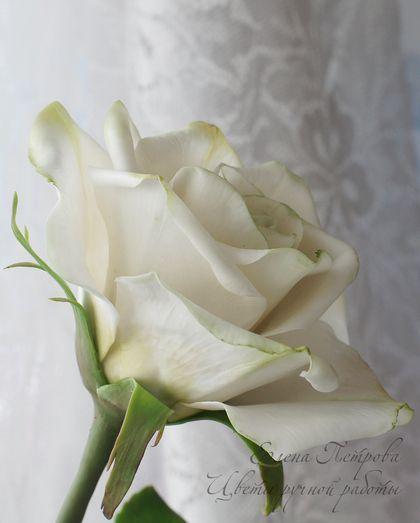 Цветы ручной работы. Ярмарка Мастеров - ручная работа Белая роза из полимерной глины. Handmade.