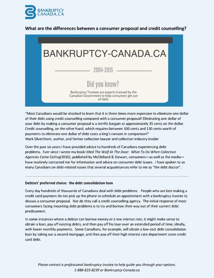 Differences Between a Consumer Proposal And Credit Counselling? |authorSTREAM - http://www.bankruptcy-canada.ca/