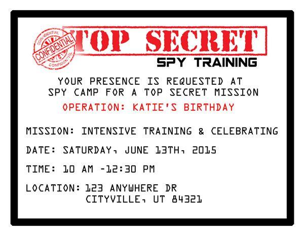 Printable Spy Party Invitations The O Jays Birthdays