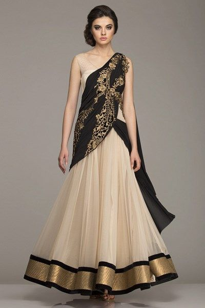 Dresses, Clothing, Carma, Beige and Black Draped Outfit , , Midnight Goddess , Evening,Festive , Weddings,Reception,Bridesmaids , Ethnic , Soft Net , India , Dryclean Only , ,