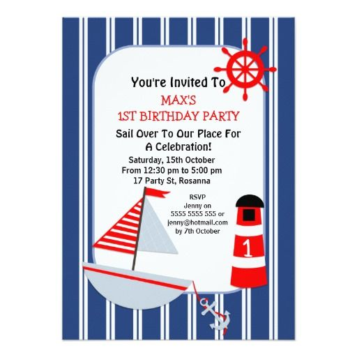 419 best Nautical Birthday Party Invitations images on Pinterest