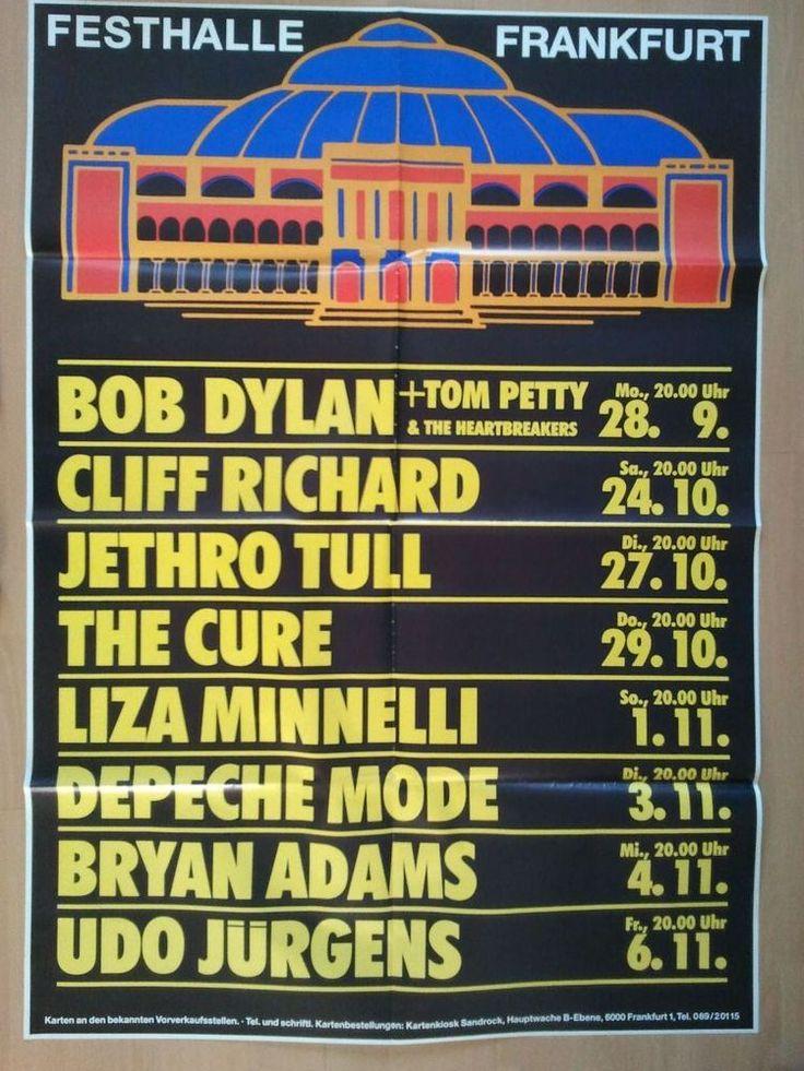 THE CURE-DEPECHE MODE-BOB DYLAN  1987   original. Concert-Konzert-Poster-Plakat