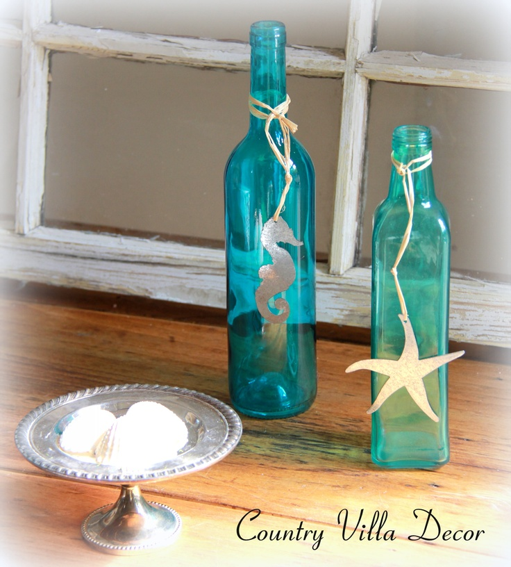 Beautiful Beach Bottle Decor at Country Villa Decor. Seahorse Blue Bottle and Starfish Blue Bottle Sets of 2. $20 Includes Shipping, NO SURPRISES AT CHECK OUT! www.country-villa-decor.com