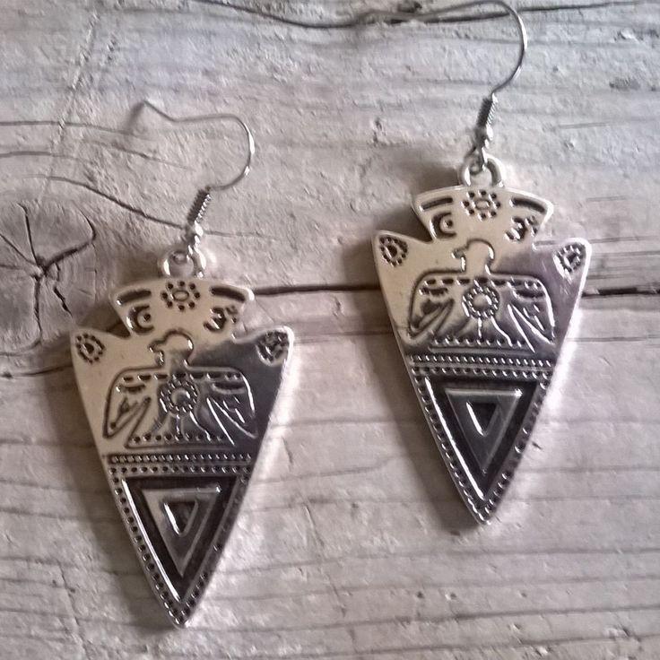 Pendientes flecha thunderbird aleación de plata nativo americano pendientes boho