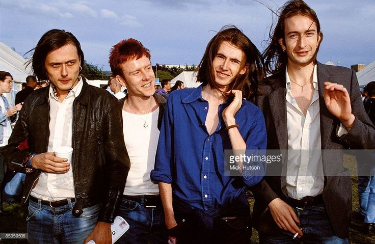 Suede group portrait, backstage at Reading Festival, 29th August 1992, L-R Brett Anderson, Simon Gilbert, Bernard Butler, Mat Osman.