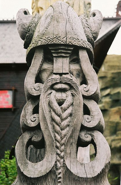 Pantheon of Oak- braided beard, irminsul spirals like lotus tree of life and hathor hair upside down, with horns and helmet