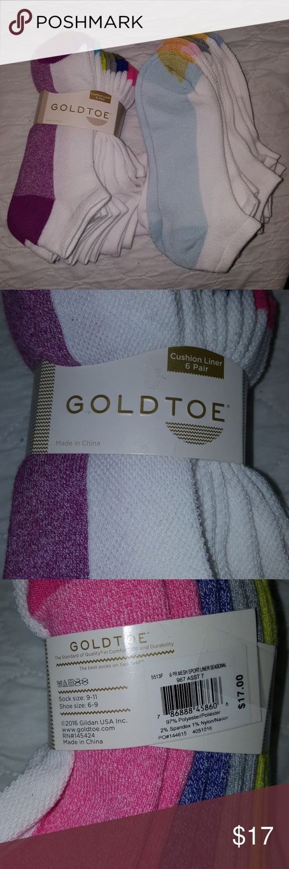 Ankle socks Two packs of Gold Toe socks. Brand new. White with color bottoms. I have too many socks. Women's shoe size 6-9. I have some of these, and they are really comfy, cushy soles. 2 packs 12 pairs in total. Gold Toe Other