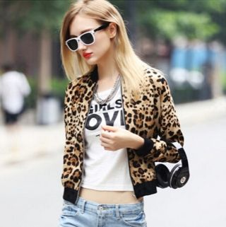 Fashion Leopard bomber jacket for women short coat
