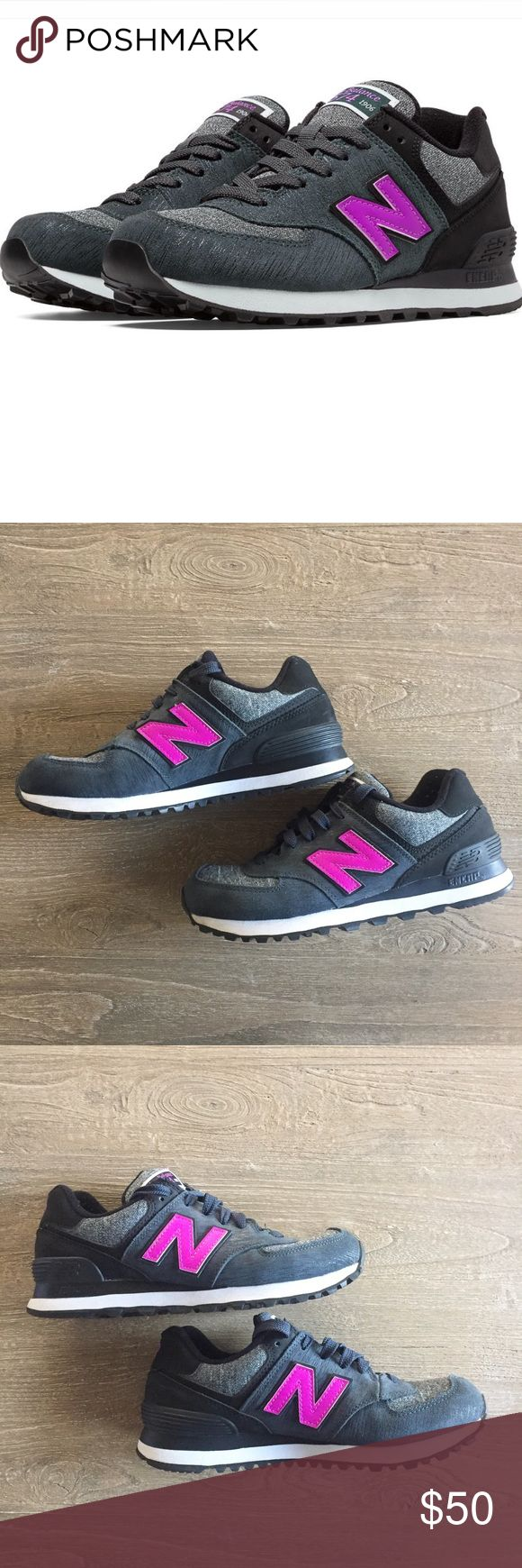 "New Balance 574 Gray/Black/Fuchsia Sneakers The cool iconic sneaker from New Balance, updated in a new colorway as part of the Sweatshirt collection. Gray and dark gray shoe with black accents and fuchsia graphics. Gently worn, some pilling around the interior heels. Runs true to size. Bundle and save 15%! Just click ""Add to Bundle"" on ANY two or more of my listings, and a 15% discount will automatically be applied--plus you pay only one shipping fee! New Balance Shoes Athletic Shoes"