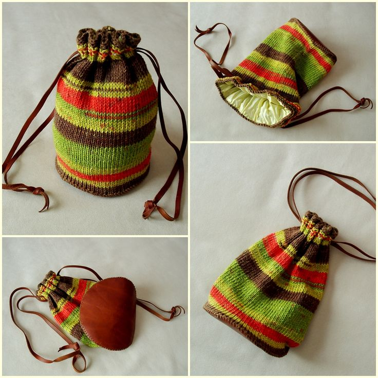 Bolsa hilo rayas de colores con base de piel de ternera.