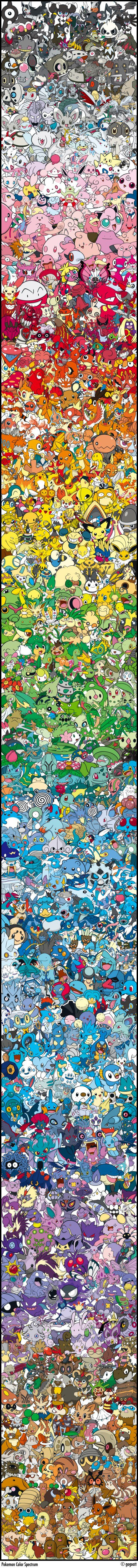 Los principales Pokemon y su escala cromática #videogames #nintendo Via #Pokemon Arranged by #Color