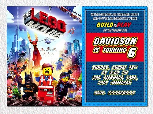 Lego invitation, Lego party invitation