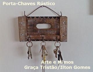 Arte e Mimos: Porta-chaves Rústico com madeira de reaproveitamen…