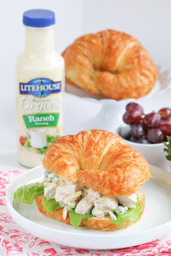 These croissant sandwiches are perfect to pack for lunch or serve at a spring garden party! http://www.foodnfocus.com/spring-ranch-chicken-salad-croissants/