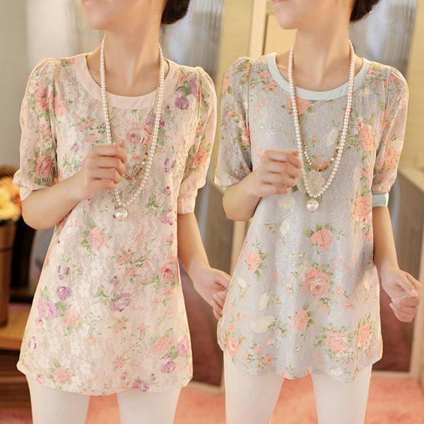 2014 весной и летом новый большой размер женщин с коротким рукавом Женщины тонкий тонкий шифон кружева рубашки рубашки дна корейский жира мм - eBoxTao, English TaoBao Agent, Purchase Agent. покупка агент