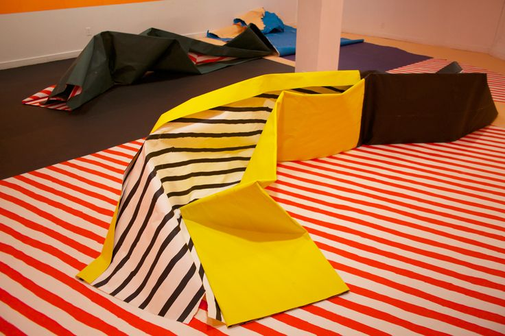 Seripop - Yannick Desranleau and Chloe Lum - Certainty: Two Times Not Really2013 Screenprinted paper, table, rope, paint can.  Dimensions variable (two rooms: 267 x 655 x 819 cm; 267 x 620 x 758 cm)    Installation view at Struts, Sackville, Canada.  Photo by Yannick Desranleau