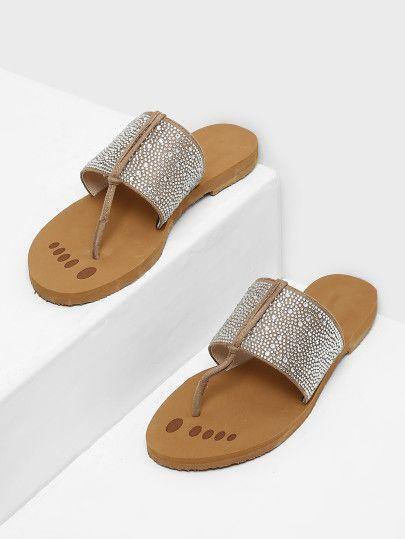 RomweLook Beaded Detail Bohème Women Chic Post Sandalsfor Toe bgy7Y6f