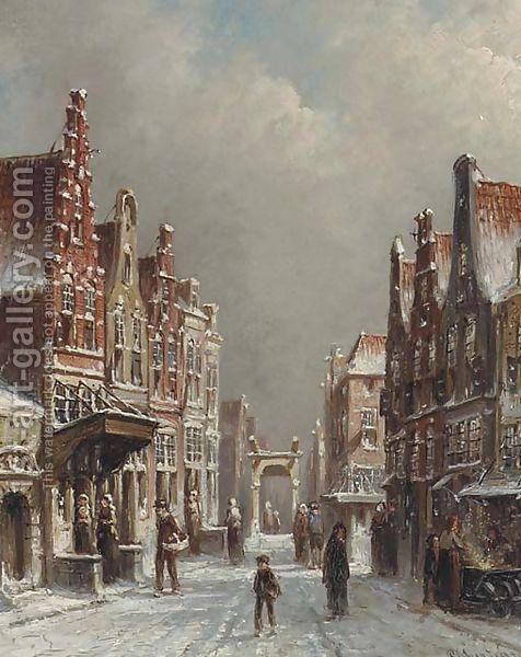 A snowcovered street in Alkmaar by Pieter Gerard Vertin