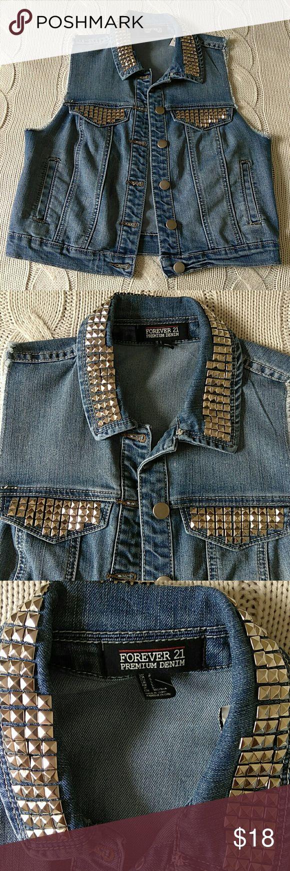 Studded Silver Vest F21 Premium Denim Studded Silver Vest. NWOT. Forever 21 Jackets & Coats Jean Jackets