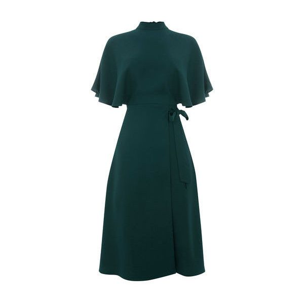 Warehouse Warehouse Cape Back Dress Size 6 ($79) ❤ liked on Polyvore featuring dresses, dark green, blue dresses, short blue dress, mini dress, blue color dress and short dresses
