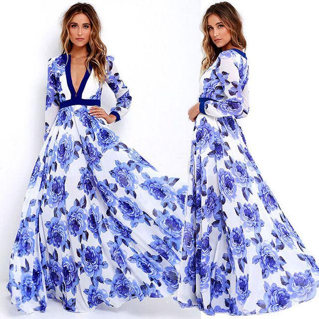 Women Lady Sexy Summer Clothes Dresses Boho Maxi Long Party Deep V Neck Beach #Flower #Dress Sundress