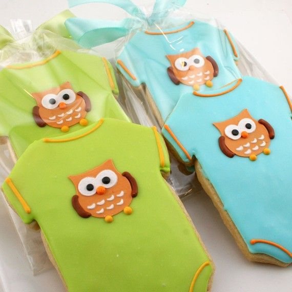Onesie Sugar Cookie Favors  Adorable Owl Design. By Truly Scrumptious Cookies on Etsy
