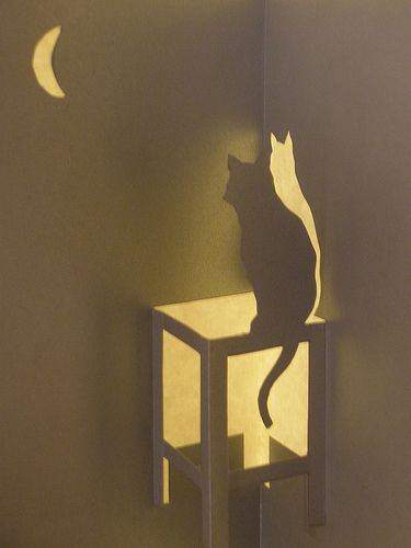 Cat, Kirigami | Cat looking at moon. Kirigami is the art of … | Flickr
